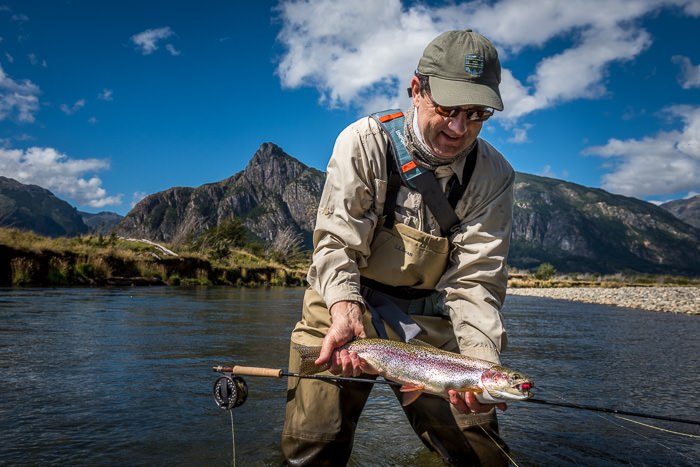 Rainbow on a dry fly in Chile