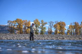 Fly fishing on the Yellowstone river