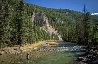 Wading the Gallatin River