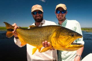 It's easy to see why these guys are smiling after catching this golden dorado