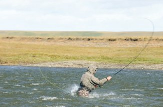Spey casting for sea run brown trout.