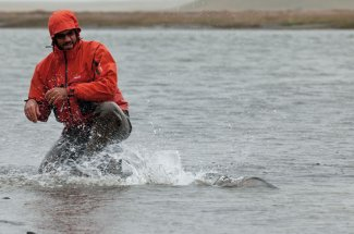 Exciting action on the Rio Grande River in Tierra Del Fuego.