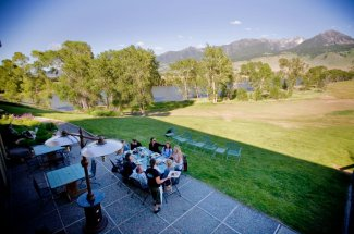 Dining on the bank of the Yellowstone River