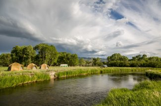 Camping and fly fishing on the Yellowstone river