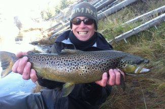 Fly fishing for brown trout in Montana