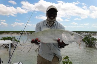 Fly fishing for bonefish in the Bahamas