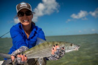 A successful catch of a bonefish