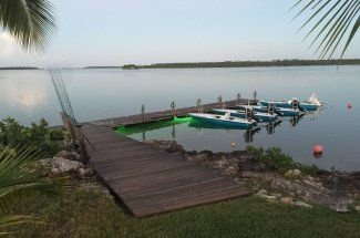 The boats are ready for the day of bonefishing at Abaco Lodge