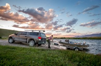 Launching the boat on the Madison River