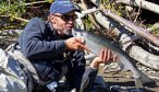 Kissing a silver salmon