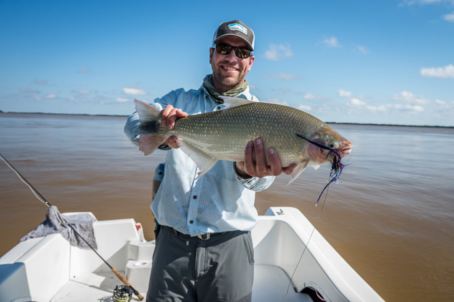 fly fishing for Pira Pita on the Parana River Argentina