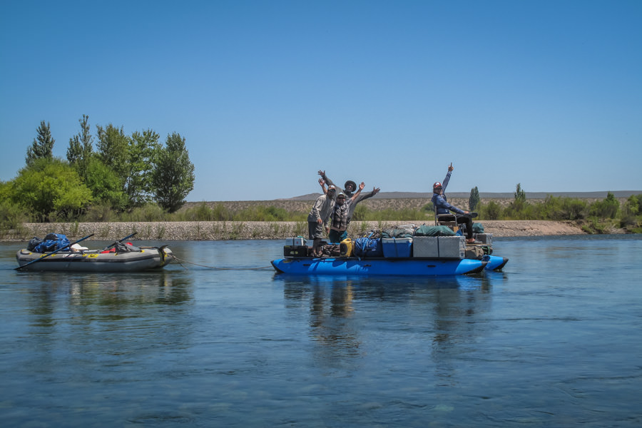 The PRG camp team moves a massive amount of camping gear down the river every day in advance of our fishing boats