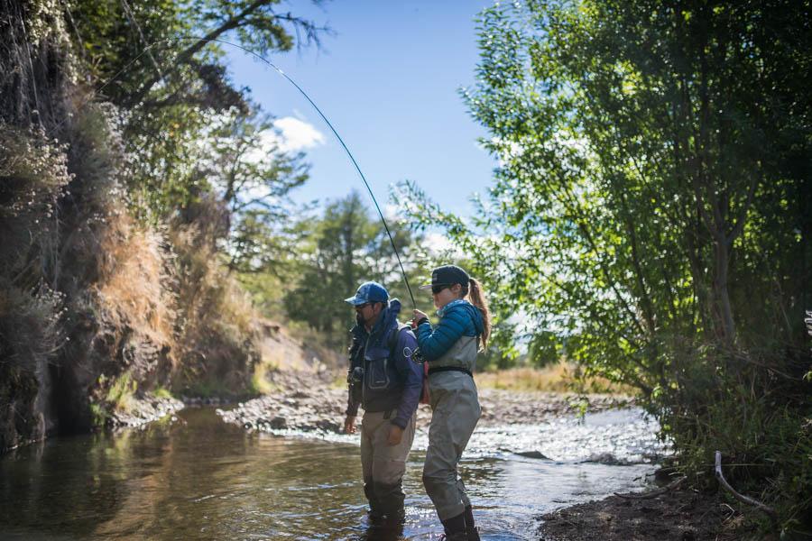 We enjoyed a day on a large estancia fishing on one of the many small freestone streams in the area. Trout eagerly accepted Ella's hopper offering as the real deal