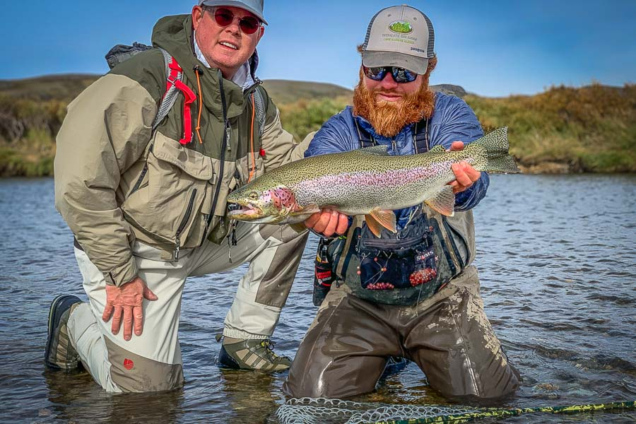 Drew landed this heavy rainbow on the Moraine early in the trip. The Moraine is located in Katmai National Park and is famous for both its massive rainbow trout and its spectacular bear viewing