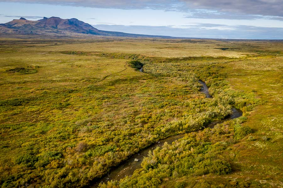 Emerald Creek starts in the mountains of Katmai National Park and winds its way through the tundra before joining the Gibraltar River