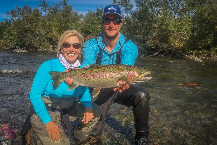 Luckily more than the bears were catching fish. Sherry landed this heavy rainbow after guide Nick spotted it holding in swift water below a pod of salmon