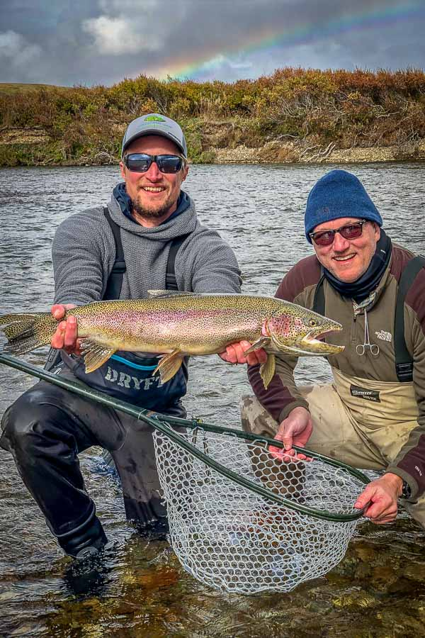 Tom Stark spotted this big rainbow cruising the shallows of Moraine Creek. After casting to the trout for over 20 minutes he invited Mark over to try his hand. Mark quickly caught and landed the monster...now that is a good buddy!