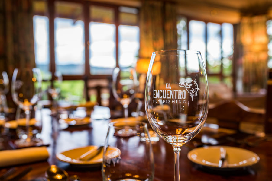 The dining room at El Encuentro with spectacular views of the river and mountains