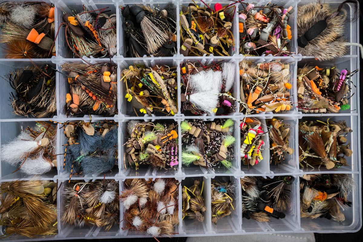 Chilean guide box full of big and foamy flies