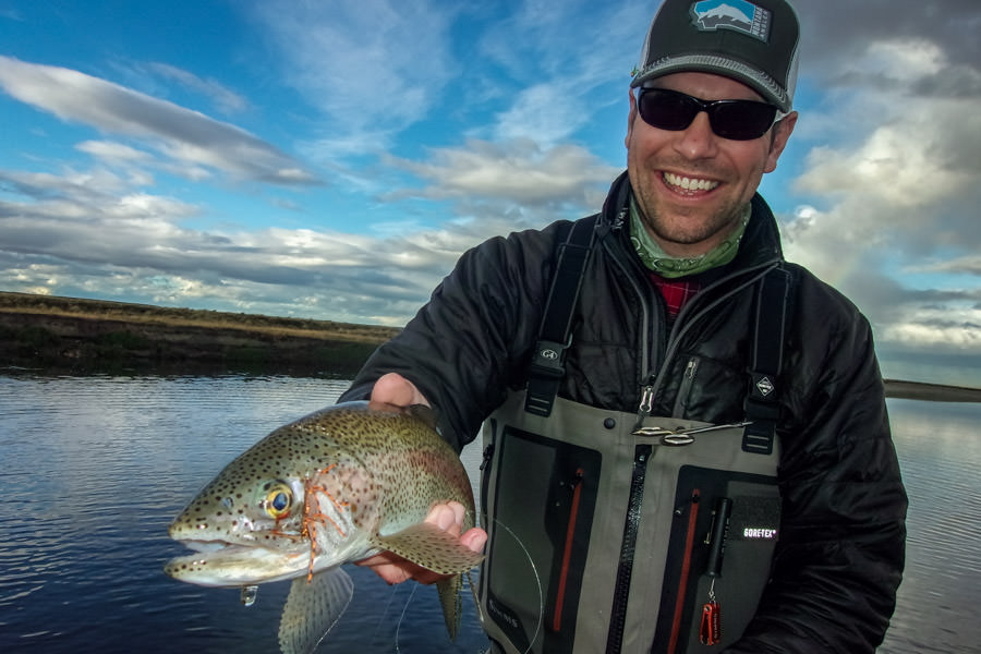 Tierra Del Fuego Rainbow trout on a dry fly