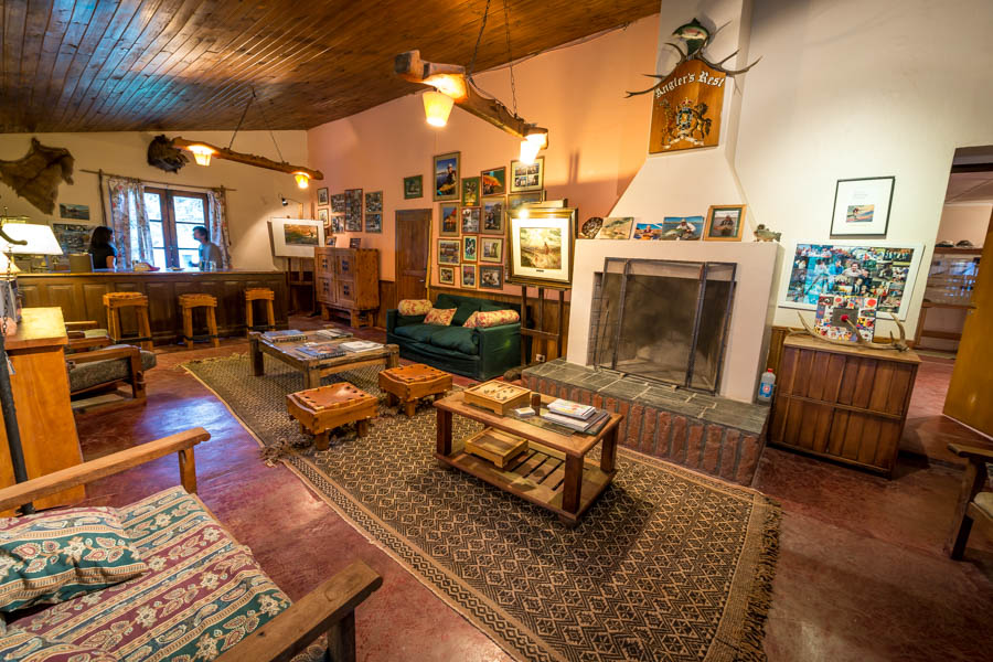 The bar room at Quemquemtreu is filled with the work of local artists and photographs of numerous legendary fly fisherman that have made the pilgrimage to fish the estancia waters