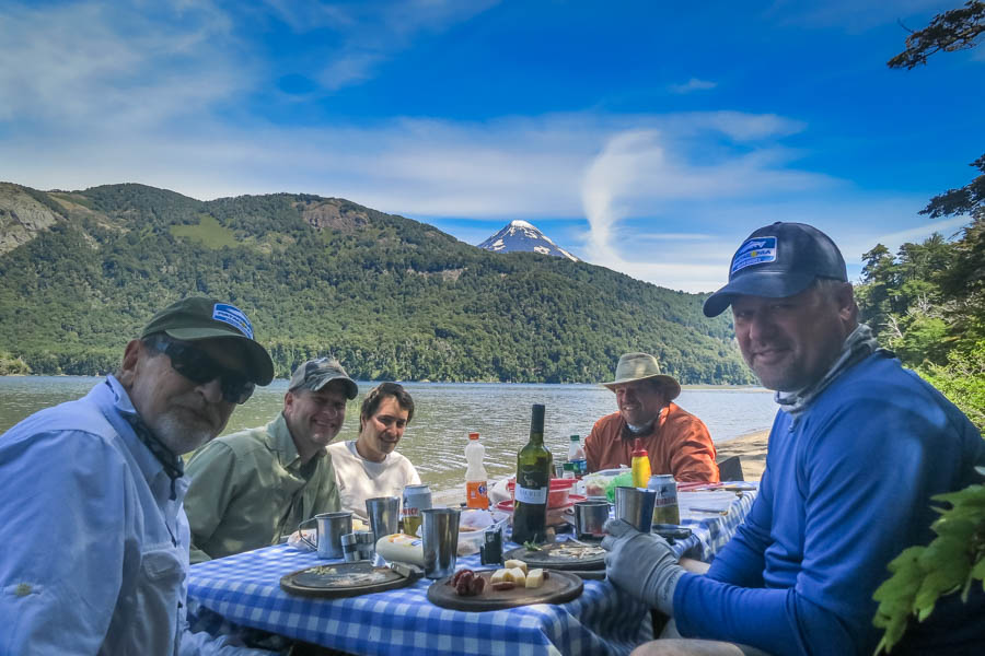 Lunch on Lago Tromen below the Lenin Volcano.  Lago Tromen is home to huge browns that eat big dry flies.  It is the source of the famous Malleo River