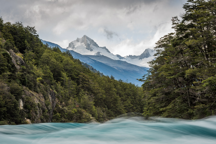 Big water and big mountains in southern Patagonia Chile
