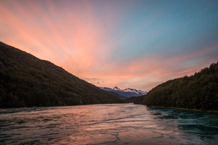 Sunrise over the Rio Baker from the deck of the Patagonia Baker Lodge