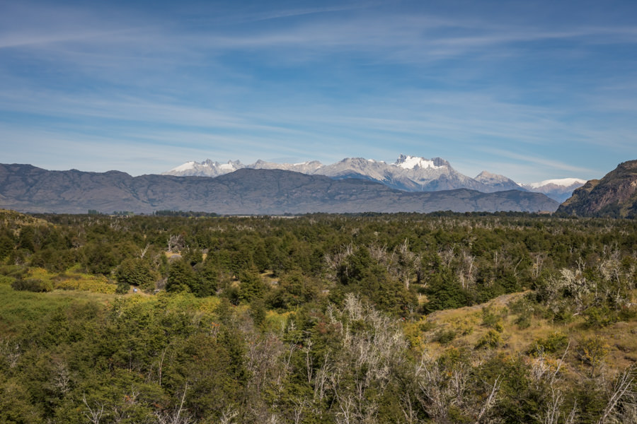 Looking across the valley floor where the Rio Cochrane and Rio Baker meander with the Northern Patagonian Ice Pack looming in the distance