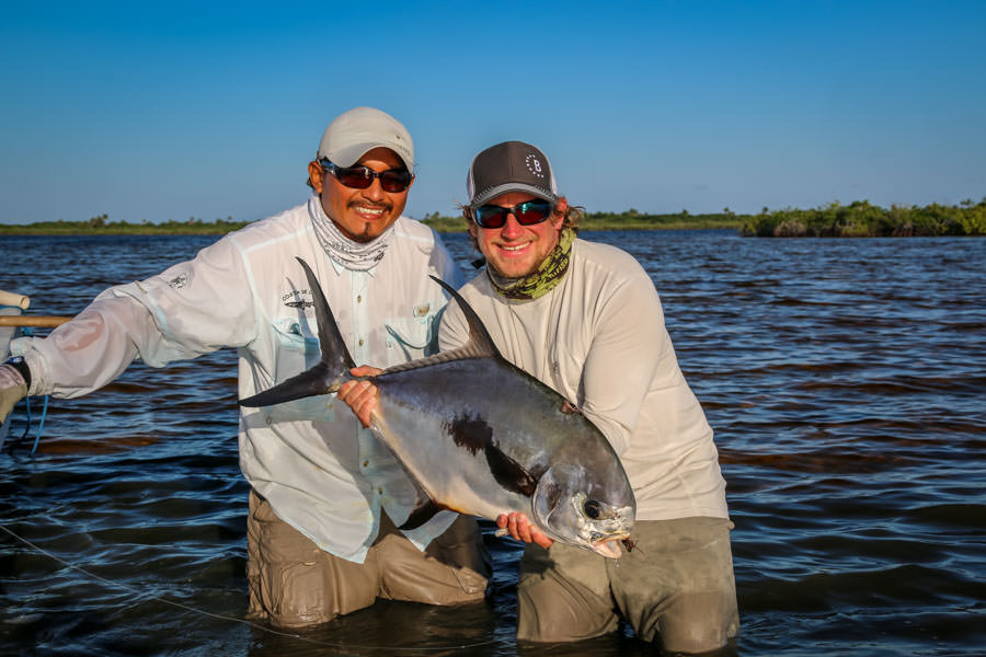 Fly fishing for permit in Xcalak Mexico